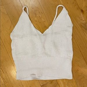 Tops - White Crochet Crop Top - Made in Italy